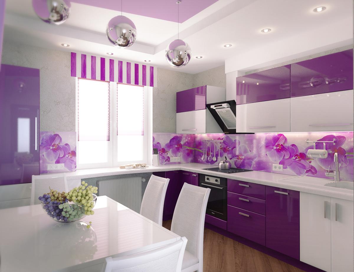 Современная фиолетовая кухня