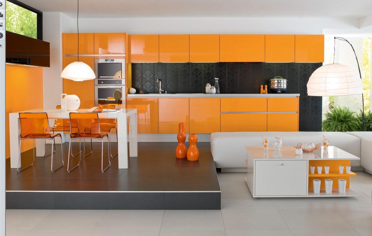 Оранжевая красивая кухня